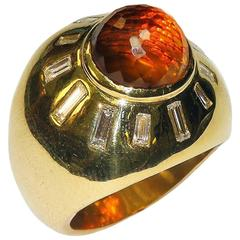 Orange Quartz Diamond Gold Ring