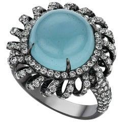 Jade Jagger Aquamarine And Diamond Hexagon Ring For Sale