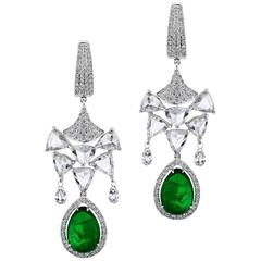 Diamond Emerald Drop Chandelier Earring