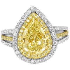 Certified Light Yellow Diamond Halo Two-Color Gold Bridal Fashion Cocktail Ring