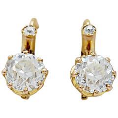 Edwardian Diamond yellow gold Dangle Earrings