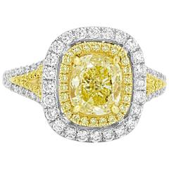 Certified Fancy Yellow Diamond Double Halo Two-Color Gold Ring