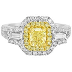 Certified Natural Fancy Intense Yellow Diamond Double Halo Two Color Gold Ring