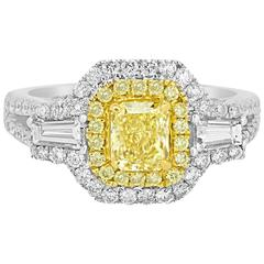 Certified Fancy Intense Yellow Diamond Double Halo Two Color Gold Ring
