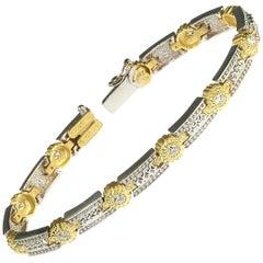 18K White Yellow Two-Tone Gold and Diamond Tennis Bracelet Stambolian
