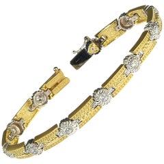 18K Yellow White Two-Tone Gold and Diamond Tennis Bracelet Stambolian