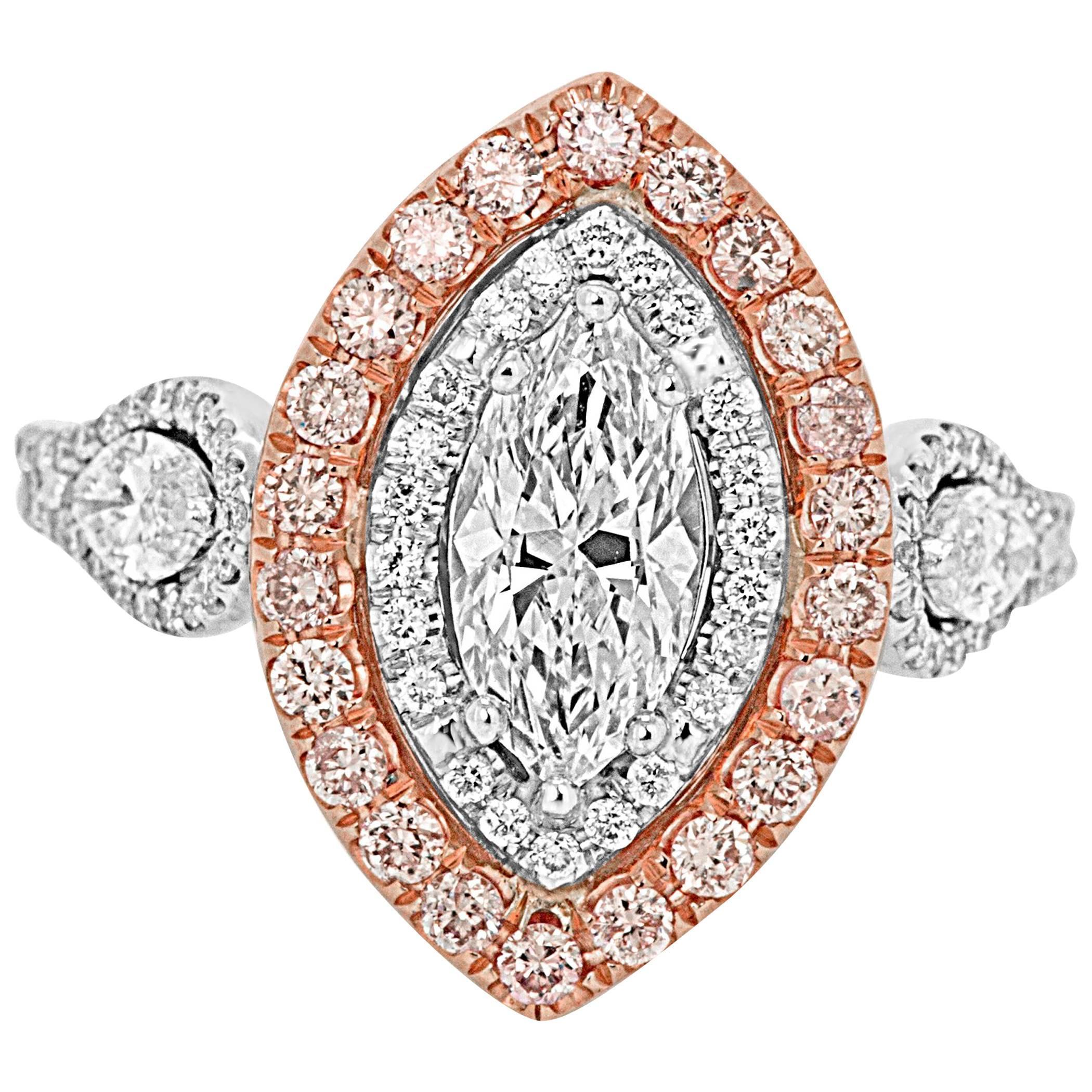 Diamond Marquis Double Halo Two Color Gold Three Stone Bridal Fashion Ring