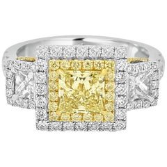 Certified Fancy Yellow Princess Cut Diamond in Two Color Gold Double Halo Ring