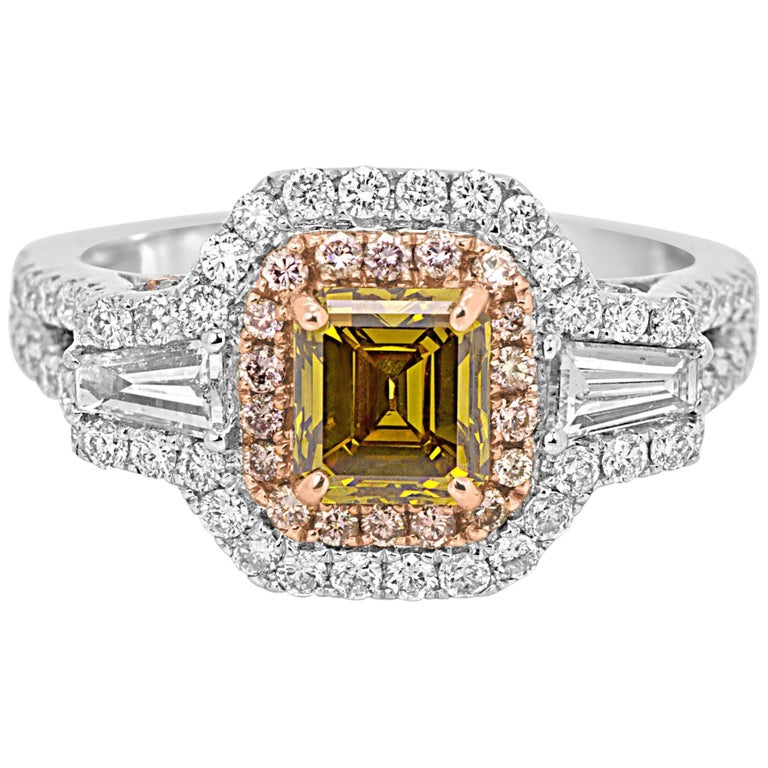 Certified Natural Fancy Color Diamond Double Halo Two-Color Gold Ring