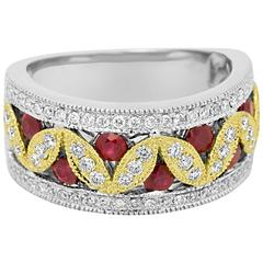 Ruby Diamond Two Color Gold Band Ring