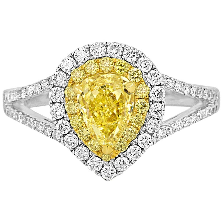 Natural Fancy Yellow Diamond Double Halo Two-Color Gold Ring For Sale