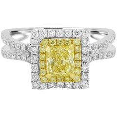 GIA Certified Natural Fancy Yellow Diamond Double Halo Two Color Gold Ring