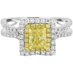GIA Certified Fancy Yellow Diamond Double Halo Two Color Gold Ring