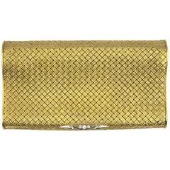 1960s Diamond Basketweave  Yellow Gold Cigarette Case