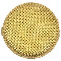 1950's Van Cleef & Arpels 18 Karat Woven Yellow Gold Compact