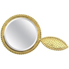 Van Cleef & Arpels Yellow Gold Mirror and Leather Case, 1950s