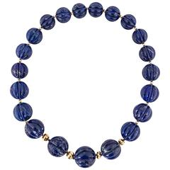 Huge Carved Lapis Bead Necklace