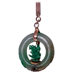 Jadeite Jade Gold Circle Pendant