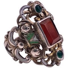 Arts and Crafts Carnelian Enamel Silver Ring, Probably Pforzheim, circa 1900