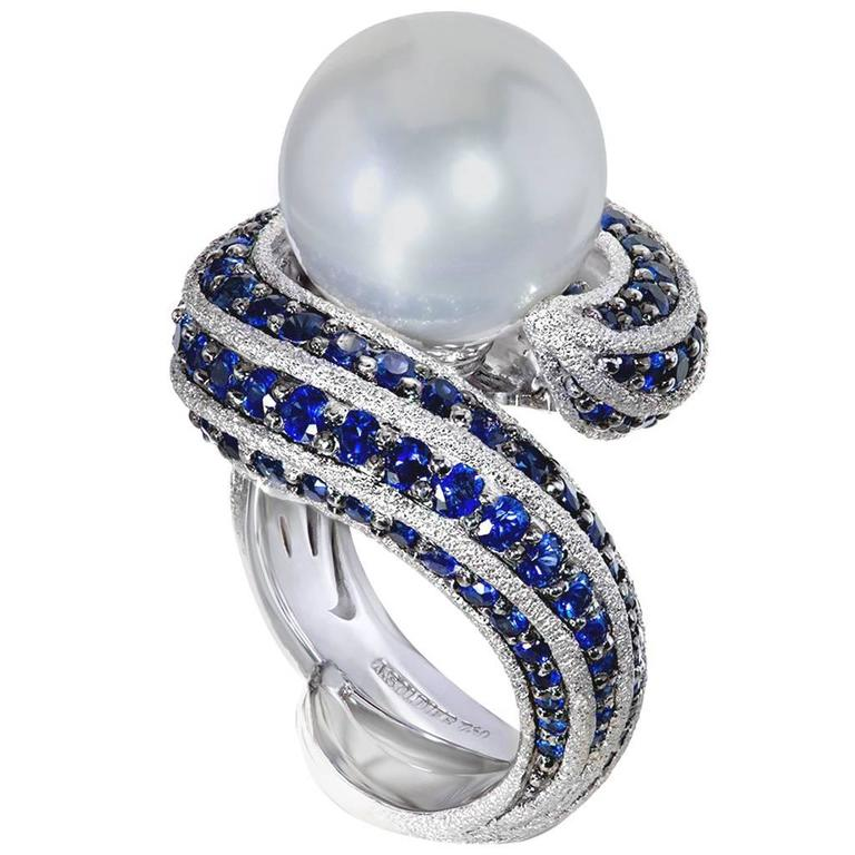 Alex Soldier Blue Sapphire Pearl Gold Textured Ring Limited Edition Handmade 1