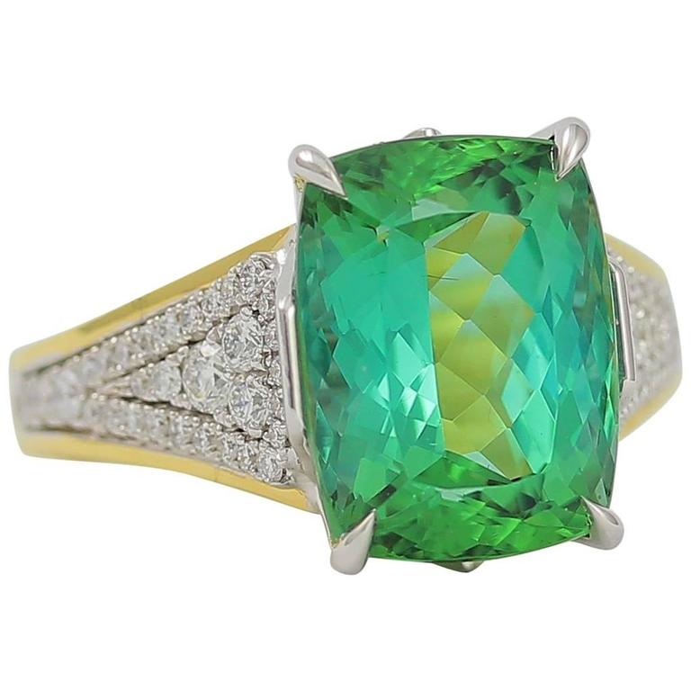 Frederic Sage Fine Green Tourmaline Diamond Ring