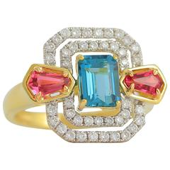 Frederic Sage Green and Pink Tourmaline Diamond Gold Ring