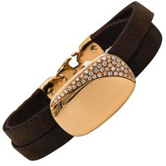 Oromalia Rose Gold and Double Strap Leather Bracelet with Pave Diamonds