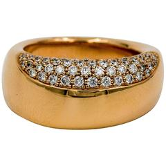 Oramalia by Salvatore Barberi Pave Diamond Pink Gold Domed Ring