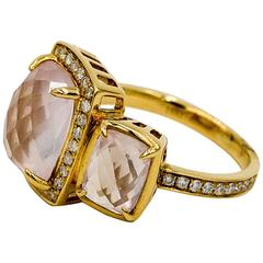 Katie Decker Rose Quartz Diamond Gold Asymmetrical Ring