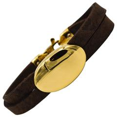 Oromalia by Salvatore Barberi Leather Yellow Gold Bracelet
