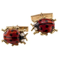 1960s Enamel Gold Ladybug Cufflinks
