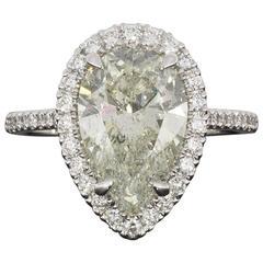 Custom 3.23 Carat Certified Pear Diamond Halo White Gold Engagement Ring
