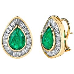 Cabochon Emerald Diamond Gold Earrings