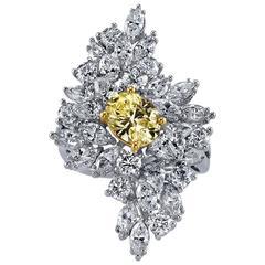 Jewelerette Fancy Yellow White Diamond Platinum Cocktail Ring