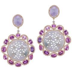 Lavender Jade Purple Sapphire Diamond Hanging Earring