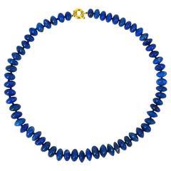 Lapis Lazuli Graduating Roundel Bead Gold Necklace