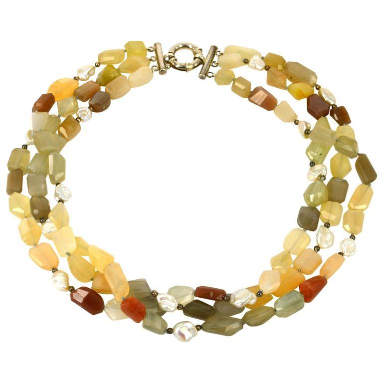 Three Strand Multi Color Rainbow Moonstone Pearl Silver Bead Necklace