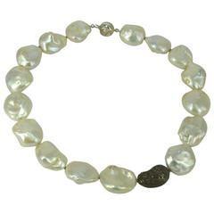 Sterling Silver Diamond Pearl Necklace