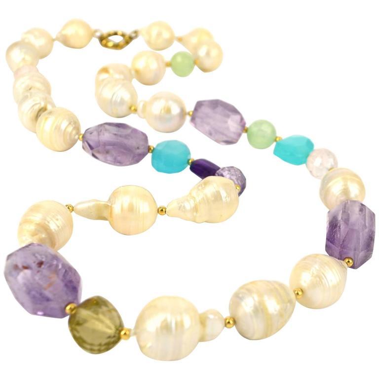 Pearl Amethyst Prehnite Rose Lemon Quartz Chalcedony Gold Bead Necklace