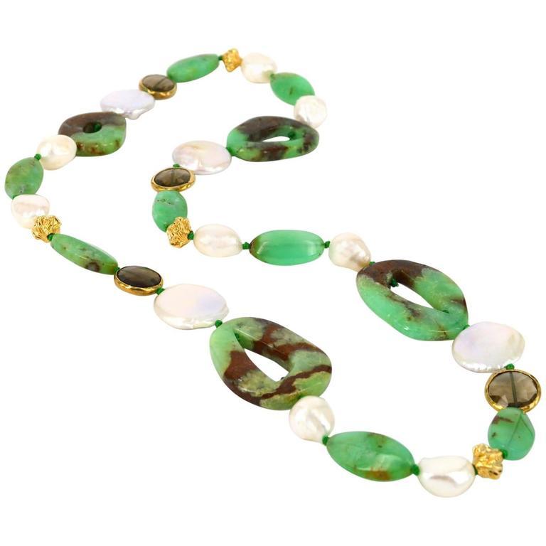 Australian Chrysophrase Pearl Smokey Quartz Gold Bead Necklace