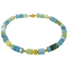 Decadent Jewels Blue Green Aquamarine Gold Necklace