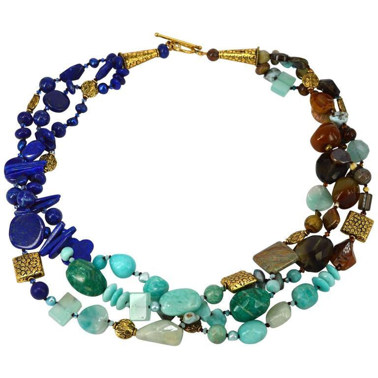 Lapis Lazuli Peruvian Amazonite Smokey Quartz Three Strand Gold Bead Necklace