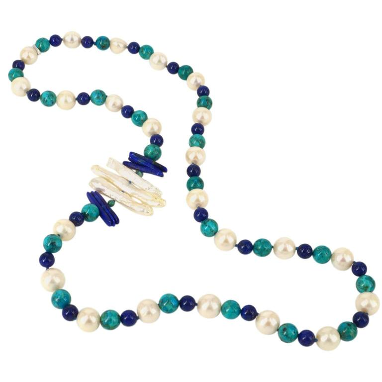 "Decadent Jewel ""Copella"" Lapis Lazuli Turquoise Pearl Bead Silver Necklace"