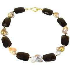 Baroque Pink Pearl Smokey Quartz Gold Bead Necklace