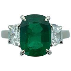 3.50 Carat Zambian Emerald Diamond White Gold Ring