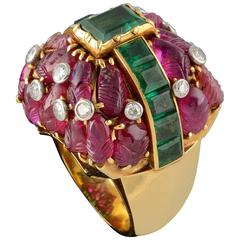 1960s French Ruby Emerald Diamond Gold Cocktail Ring