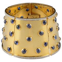 1970s Gregory Gold Cabochon Sapphire, Diamond Cuff