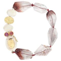 Sterling Silver Gold Strawberry Quartz with Pink Orange Bracelet