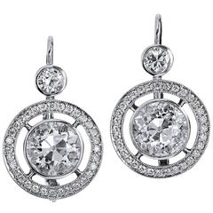 H and H 3.56 Carat Old European Cut Diamond white gold Earring