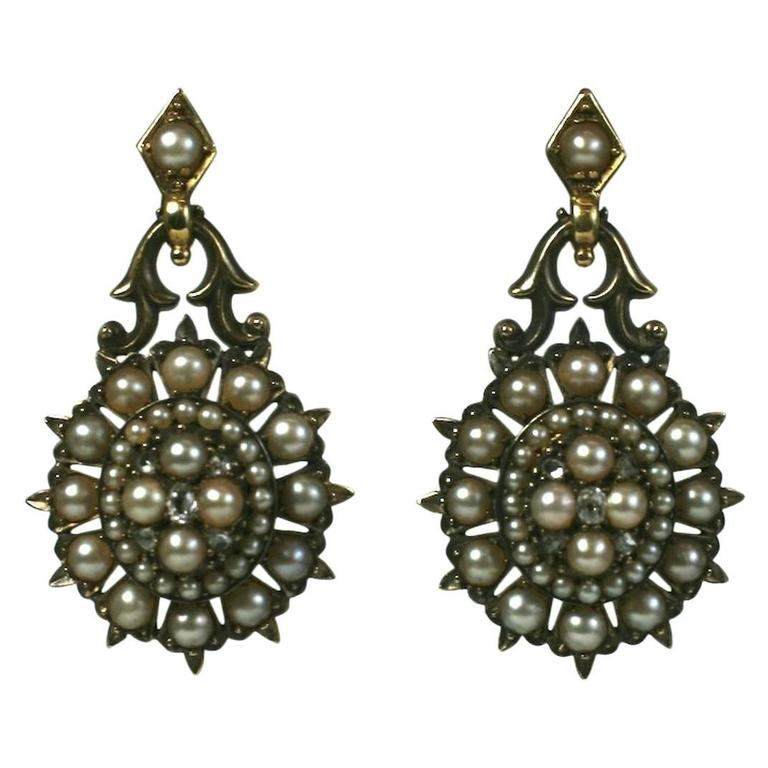 Elegant Victorian Seed Pearl Earrings